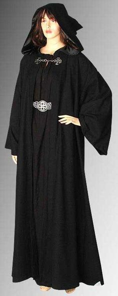 Medieval Wicca Pagan Ritual Robe Coat with Hood by YourDressmaker