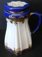 Antique Nippon Hand Painted Gold Beaded Blue Cobalt Sugar Shaker Circa 1891-1911
