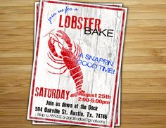 Items similar to Lobster bake Party Invitation / invite - Personalized DIY Lobster boil birthday party decorations on Etsy Lobster Feast, Lobster Boil, Seafood Party, Seafood Bake, Hummer, Lobster Bake Party, Crab Bake, Food Poster Design, Invitations