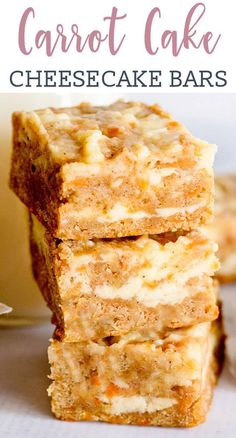 These cream cheese carrot cake bars have a rich cream cheese swirl, making this carrot cake dessert recipe an indulgent treat for Easter or spring parties! via Desserts Cream Cheese Carrot Cake Bars Recipe {Easy Cake Mix Recipe} Carrot Cake Bars, Carrot Cake Cheesecake, Cheesecake Bars, Carrot Cake Cookies, Easy Carrot Cake, Blueberry Cheesecake, Dessert Cake Recipes, Oreo Dessert, Easy Desserts