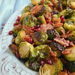 Roasted Honey Balsamic Brussels Sprouts with Bacon and Pomegranate Seeds