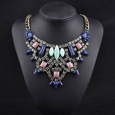 7.07€ - Statement Vintage Big Brand Resin Shourouk Women Luxury Gem Necklace 9884 - Best Lady Jewelry Store