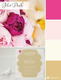 Wedding Color Palette Trend: Hot Pink via MagnetStreet | Featuring: Azalea Pink, Cream Rose, Ivory and Gold