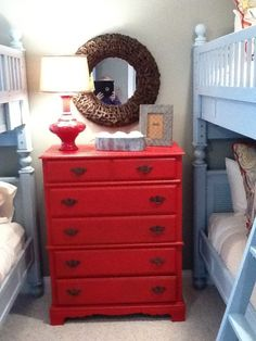 2 sets of bunk beds + 1 bright dresser fits nicely in a small guest room, Coral Dresser, Dresser As Nightstand, Short Bookshelf, Bookshelves, Small Guest Rooms, Florida Home, Bunk Beds, Home Projects, Diy Furniture