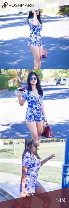 Asos Blue printed romper Brand new and stunningly sexy! This blue printed romper is everything to step up your summer game! Asos Dresses