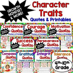 Are you a teaching your students about growth mindset?  Is character education important in your classroom?  These Character Traits Quotes products focus on courage, confidence, motivation, success, perseverance, compassion, gratitude, integrity, and tolerance.  Each product includes 10 character quotes posters and 10 printables. Take your character education program to the next level with these easy-to-use, teacher friendly and student approved character education quotes products!