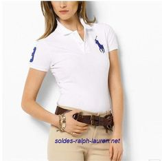 d246071f60c8f Polo Ralph Lauren Pas Cher Femme Big Pony Blanc White Polo Shirt Outfit  Women