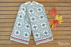 ラトヴィア手編みミトン 1327 風花 白×グレー×赤 - カスパイッカ -北欧のアンティーク雑貨と手仕事の店-