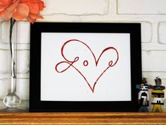 Red Heart Linocut Print  8x10 inch Love Block Print by CursiveArts, $18.00
