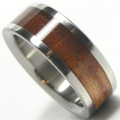 Titanium Rings Bands Mens KOA WOOD Rings Wedding Bands