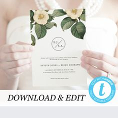 Greenery Wedding Invitation Template Printable Wedding Invitation DIY Templett PDF Instant Download Editable Rustic Wedding by PearlyPaperDesign on Etsy https://www.etsy.com/se-en/listing/609020435/greenery-wedding-invitation-template