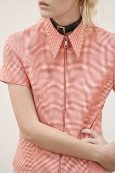 "wgsn: ""There was a clear 1990's influence in the @ANTIPODIUM collection. This zip through gingham shirt , complete with choker necklace is adorably street chic. #LFW #SS15 """