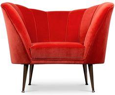 Brabbu Andes Armchair In Bright Red Cotton Velvet