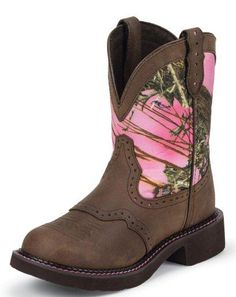 """Womens Gypsy Cowgirl Round Toe 8"""" Boots  Im pretty sure id LOVEsome pink camo boots lol"""