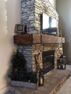 Wrap Around Fireplace Mantel: Custom Made and Custom Stain - Before and after photos of a Custom Wrap Around Fireplace Mantel that I made and then installed in - Rustic Fireplace Mantels, Cabin Fireplace, Farmhouse Fireplace, Fireplace Remodel, Fireplace Design, Rustic Farmhouse, Custom Fireplace, Fireplace Ideas, Tall Fireplace