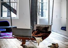 There's really no way to get in a standard hammock without looking like a wide-stanced fool. Jim Zivic Design Studios has not only fixed that problem, but has gone another level further in revamping the hammock. Diy Hammock, Outdoor Hammock, Hammock Stand, Hammock Ideas, Man Cave Essentials, Vikings, Relax, Fur Blanket, Headboard And Footboard