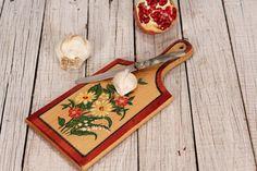 Cutting board - Wooden chopping board - Bread board - Meat cutting board flowers painted - Hand painted cutting board - Kitchen utensil