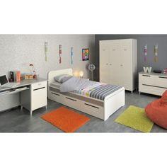 Chambre enfant Someo. Elle se compose d'un lit enfant 90x200, de 3 tiroirs de lit, d'un chevet, d'une commode, d'une armoire et d'un bureau.  #DecoChambre #ChambreEnfant
