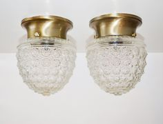 Vintage Set of 2 Cut Glass Pineapple Light Fixtures Hollywood Regency Lighting Pineapple Light Covers