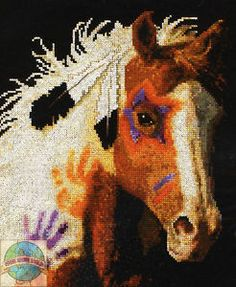 Free Native American Cross Stitch | Cross-Stitch-Kit-Plaid-Bucilla-Native-American-Decorated-War-Pony ...