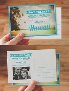 Tropical DIY printable save the date postcard, perfect for a beach or island wedding  / by Polkadot Stationery