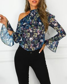 One Shoulder Floral Print Ruffles Blouse Women's Best Online Shopping - Offering Huge Discounts on Dresses, Lingerie , Jumpsuits , Swimwear, Tops and More. Hipster Fashion, Women's Fashion, Fashion Quotes, Fashion Spring, Street Fashion, Fashion Trends, Couture, Womens Fashion Online, Street Style Women