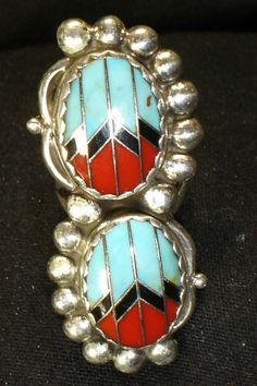 ZUNI INLAY STERLING SILVER TURQUOISE CORAL RING SZ 5.5 NATIVE AMERICAN DEAD PAWN