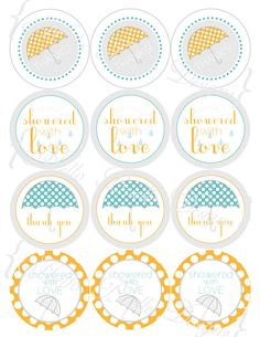"""showered with love"" baby shower favor tags"
