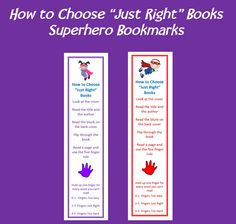 """• 45 Boy Superhero Bookmarks • 45 Girl Superhero Bookmarks • Double sided • Covers how to choose """"Just Right"""" Books • Covers Five Finger Rule • Covers How do I know a book is """"Just Right""""  36 pages in all • 90 different bookmarks in all"""