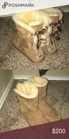 UGG bailey boot II two bows in the back. no tears or wrinkles. worn 2 times UGG Shoes Winter & Rain Boots