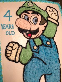 Luigi, Cake Decorating, Cakes, Fictional Characters, Pastries, Torte, Cookies, Fantasy Characters, Animal Print Cakes