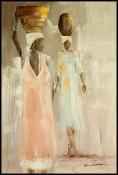 African Paintings Oil Painting - Wedding Morning by Jen Adam