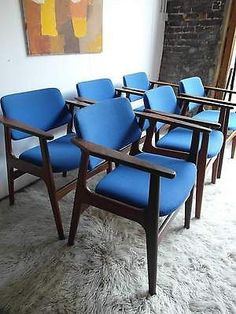 Vintage Danish Teak Dining Table And Six Carver Chairs Heals Conran Retro