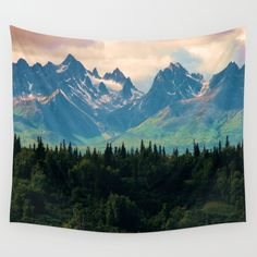 Escaping from woodland heights Wall Tapestry  #mountains