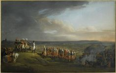 Colored painting depicting Napoleon receiving the surrender of the Austrian generals, with the opposing armies and the city of Ulm in the background