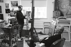 Jonathan Yeo and Martin Gayford in the studio. Photo Ruben Cooke, from The Many Faces of Jonathan Yeo, published by Art / Books