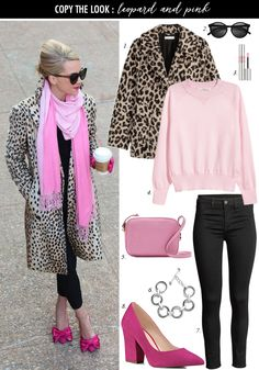 Leopard Coat and Pink Sweater Look