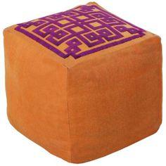 Surya Greek Key Golden Ochre Beige Square Pouf Ottoman -