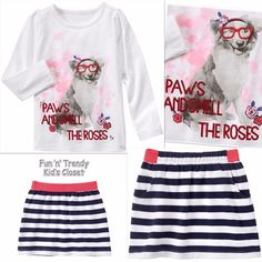 NWT Gymboree BEST IN SHOW Girls Size 7 8 Dog Tee Shirt Top & Skirt 2-PC OUTFIT #Gymboree #Everyday