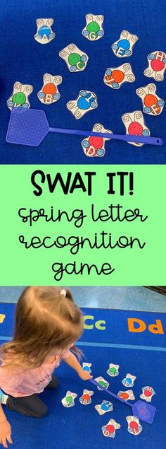 Use a fly swatter to swat the letters in this super fun preschool letter recognition activity! Spring Theme Activity Pack for Preschool, Pre-K & Kindergarten This 124 page product includes several spring themed literacy and math activities plus dramatic play materials!