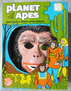 planet of the apes halloween costume featuring plastic mask and a vinyl sack