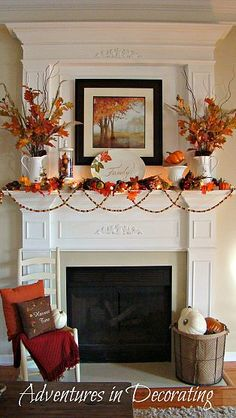 Beautiful, fun Fall mantel with lots of pops of vibrant orange, along with the other traditional Fall embellishments. By @Becca Bertotti