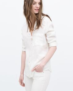 Image 3 of LINEN BLOUSE from Zara