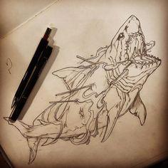 Sharrrkkkkkkkkk #illustration #neotraditionel #neotraditional #neo #traditionel #traditional #draw #drawing #tattoo #ink #tattooed #inked #sketch #sketches #flowers #animals  #shark