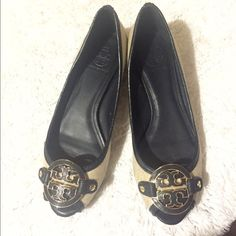 Tory burch wedge flats Excellent condition. Worn a few times. Small dark spot on side but could easily be cleaned. Cream and navy. Size 8m Tory Burch Shoes Flats & Loafers