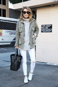 white jeans, grey turtleneck sweater, olive cargo jakcet