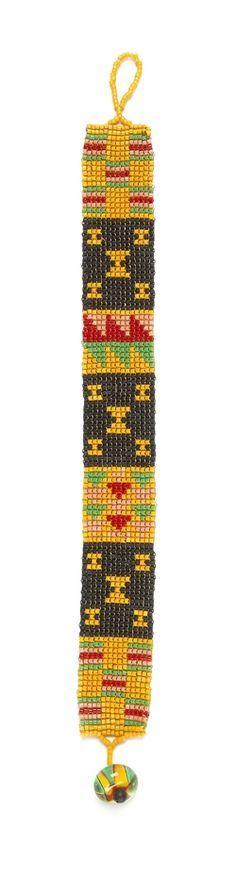 African mudcloth design: square stitch bracelet - Bead Magazine