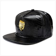 Kuoser Unisex Thick Bright PU Leather Hip Hop Snapback Baseball Cap, Lion Head Labeling Flat Bill Hat for Sports and Everyday, Adjustable -- Awesome products selected by Anna Churchill