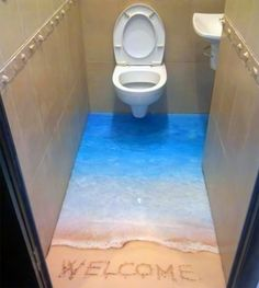A bathroom floor idea perfect for those that love to be beside the sea.