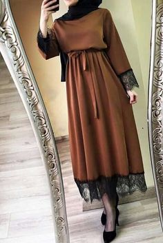 New abaya for women lace long sleeve vestidos women 2020 abaya dubai ramadan caftan moroccan muslim dress turkish allday turkish fashion hijab style wide leg pants and tunic nice colors for fall days Modern Hijab Fashion, Hijab Fashion Inspiration, Abaya Fashion, Muslim Fashion, Modest Fashion, Fashion Clothes, Fashion Dresses, Dubai Fashion, Style Clothes